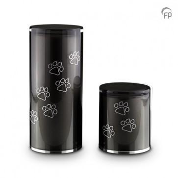 GUP 082 M | GUP 082 S  Glazen urnen, antraciet met dierenpootjes.  GUP 082 M € 159,00 / 1.00 L / H 22 CM  GUP 082 S € 125,00 / 0.50 L / H 12 CM