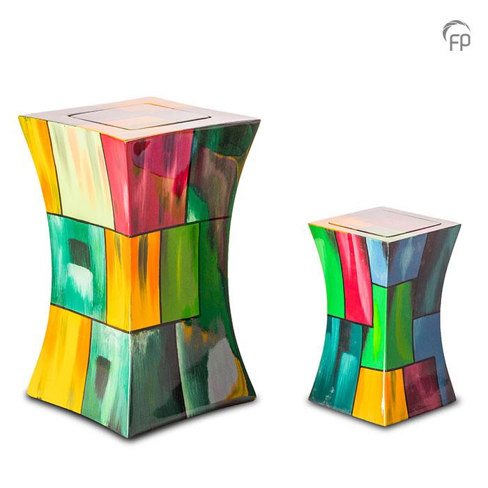 GFU 212   GFU 212 S  Glasfiber urn diabolo multicolor.  GFU 212 € 229,00 / 3.80 L / H 29 CM  GFU 212 S € 179,00 / 1.10 L / H 19 CM