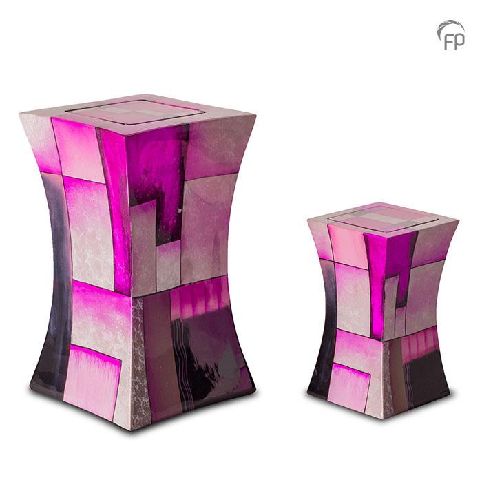 GFU 221   GFU 221 S  Glasfiber urn diabolo roze.  GFU 221 € 229,00 / 3.80 L / H 29 CM  GFU 221 S€ 179,00/1.10 L/H 19 CM