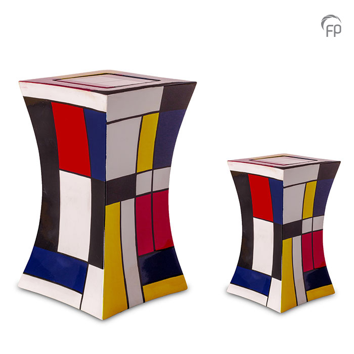 GFU 223   GFU 223 S  Glasfiber urn diabolo Mondriaan.  GFU 223 € 229,00 / 3.80 L / H 29 CM  GFU 223 S € 179,00 / 1.10 L / H 19 CM