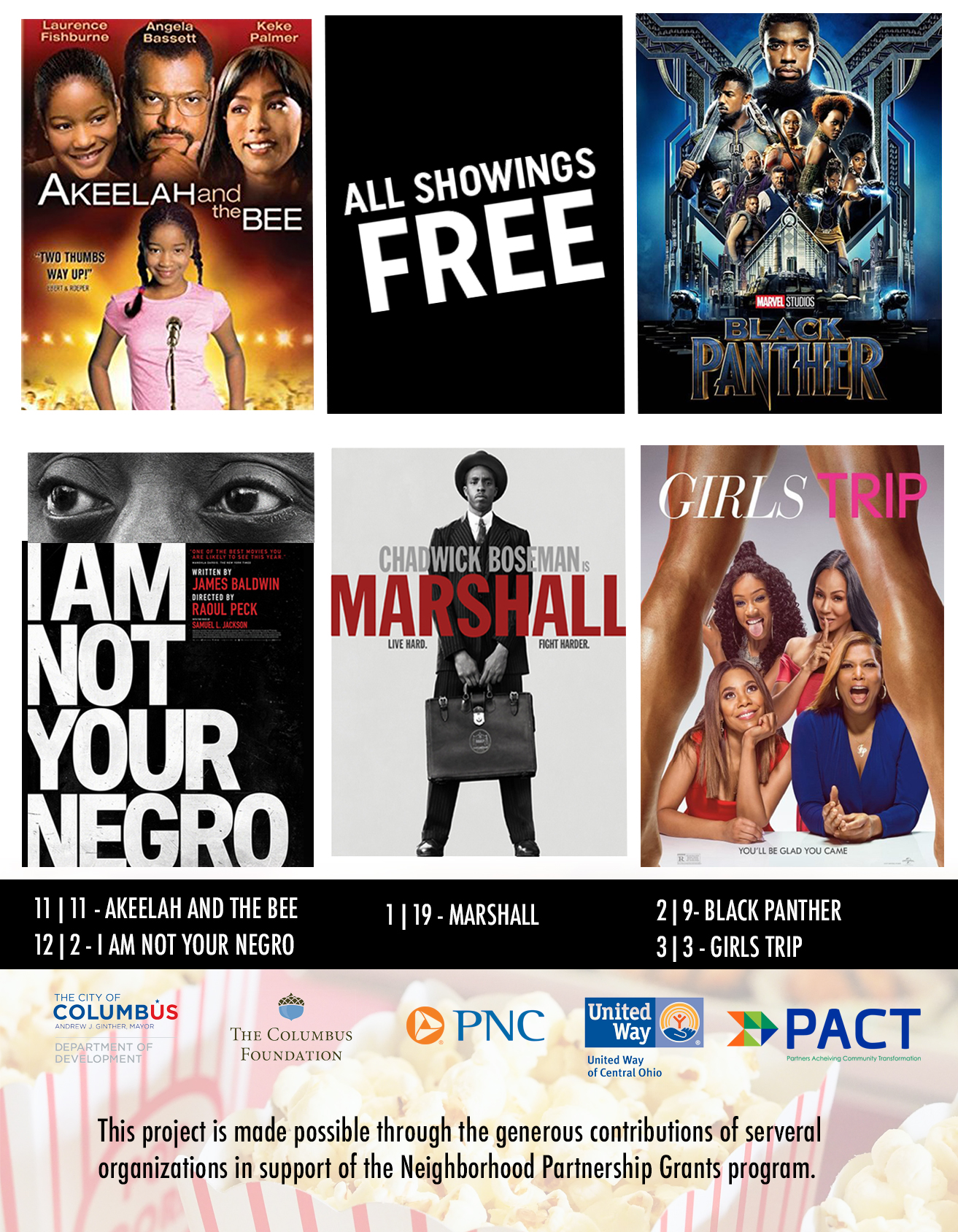 Join us for PACT Film Series - Join us for the next PACT film series – for free! Bring the entire family and watch Marshall with your family and friends at the King-Lincoln Theatre (769 E. Long St.)All doors open at 2:30 | Films begin at 3pm
