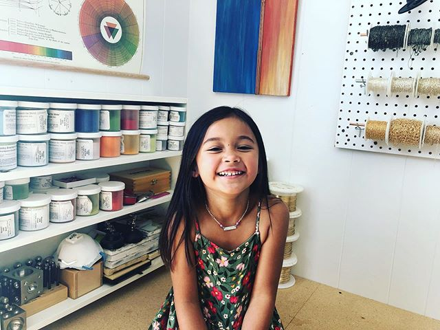 Cutest jewelry assistant-niece nugget ever! We made stamped, sterling kids necklaces.