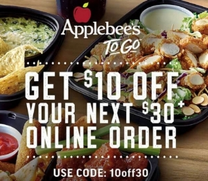 Enjoy $10 off your online or Applebee's App order of $30 or more. Enter code 10off30 at checkout to redeem this offer through 4/28/18.   Pay with an  Applebee's digital gift card  from your ShoppingBoss account to earn up to 6% cash back.