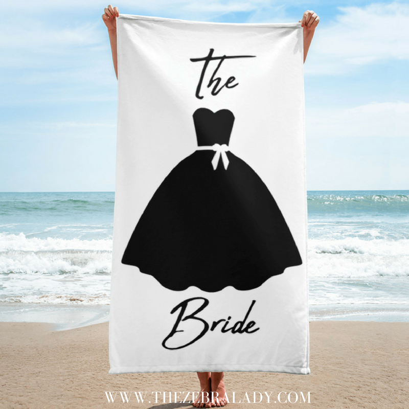 The Bride Beach Towel 30x60 inches — THE ZEBRA LADY