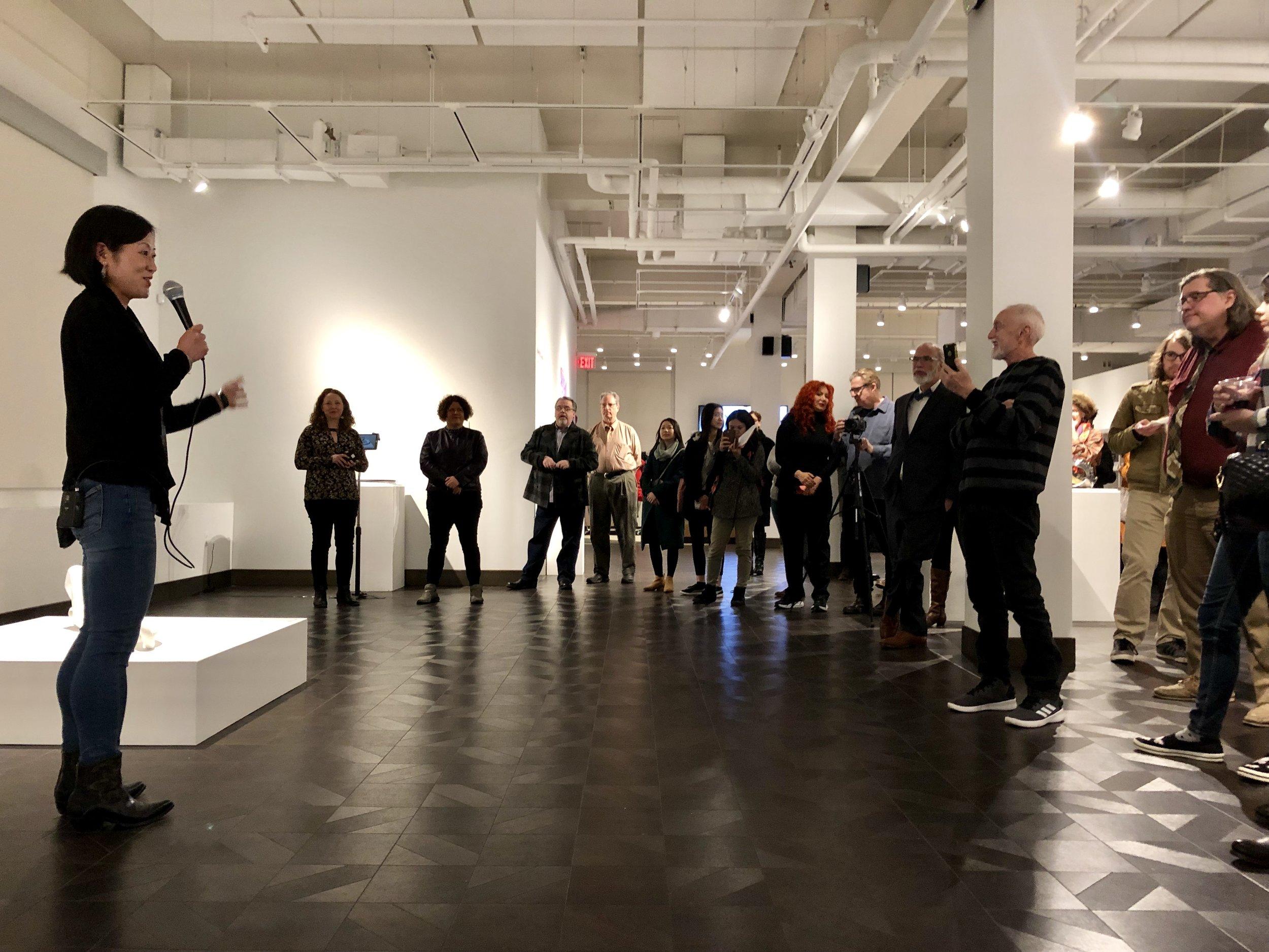 Mari Ogihara giving an artist talk for  Enamored Armor  at Rowan University, curated by Amie Potsic