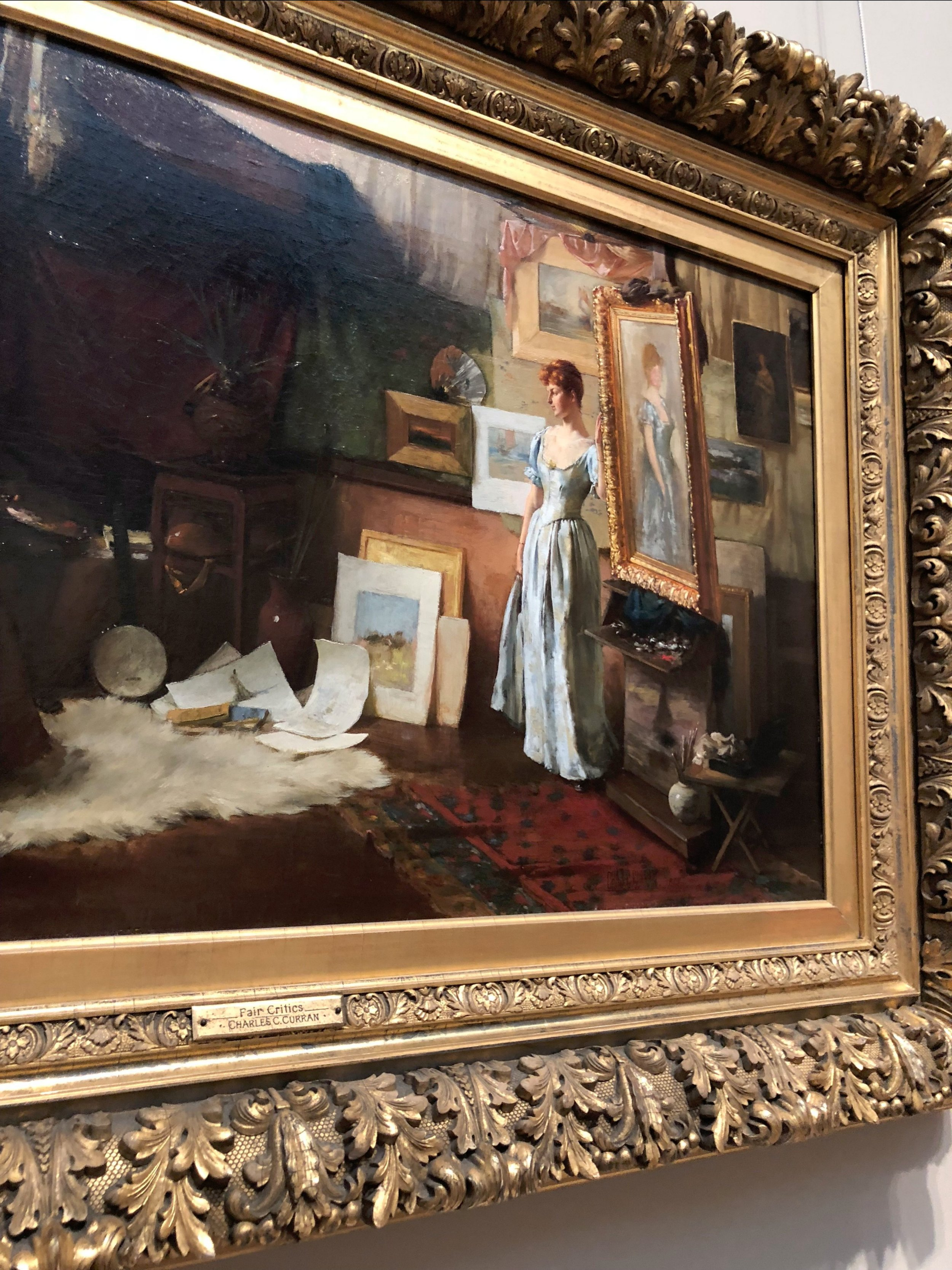 Fair Critics  (Detail), 1887 by Charles Courtney Curran in gilded frame at the Metropolitan Museum of Art, Photograph by Amie Potsic