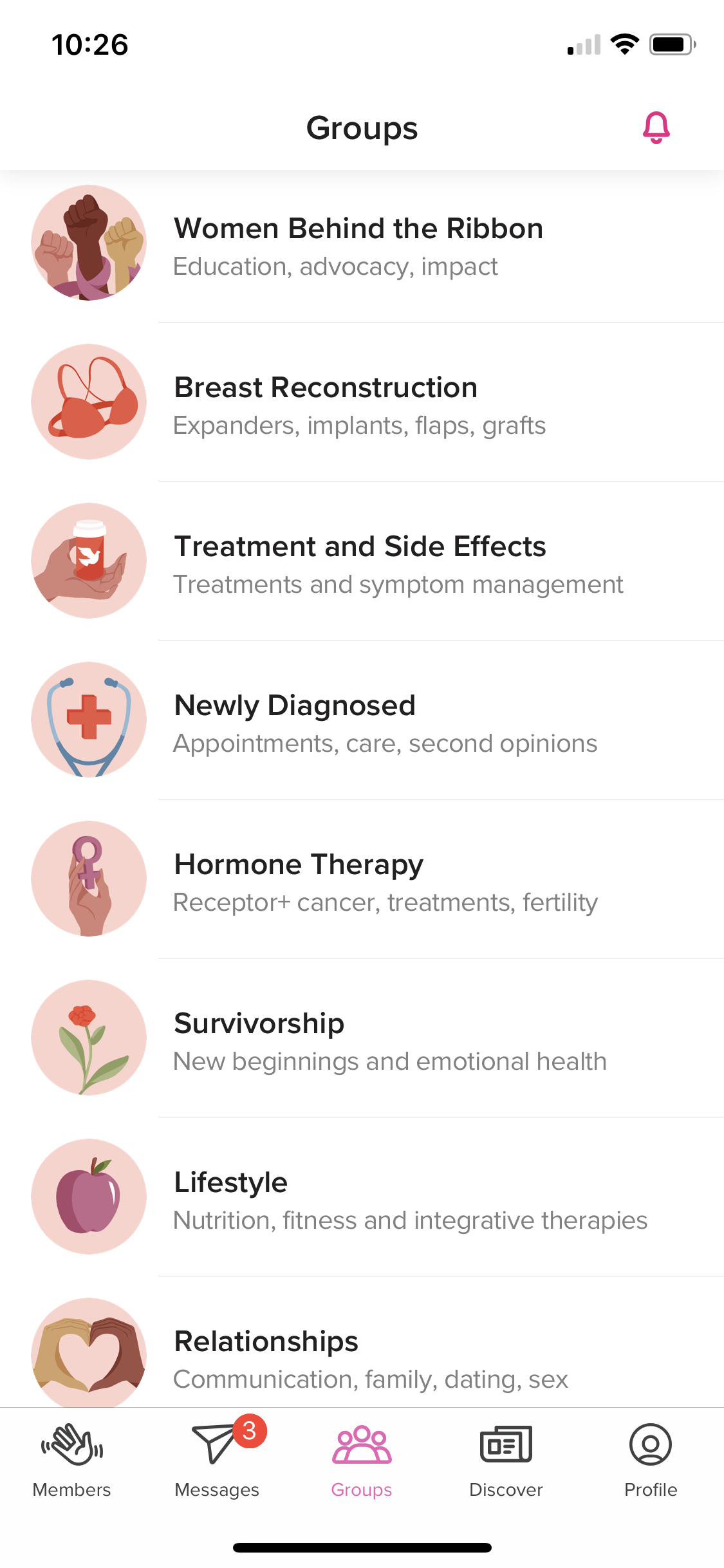 """Email, Instagram, Healthline Breast Cancer App. - I've added the Healthline Breast Cancer App into my rotation of apps that I check every morning. This app has done SO MUCH in terms of bettering my mental and emotional health. I always love connecting with new Breasties on Instagram, but it's sometimes difficult to scroll past everyone else's """"highlight reel"""" while I'm dealing with some low lows, you know?Being able to connect with new Breasties from all over the world, without the distractions of Instagram, is amazing. I've been enjoying the """"Groups"""" aspect of Healthline Breast Cancer App the most!I'm in the midst of reconstruction and, even though my surgeon is super helpful, I like being able to talk to others who have gone through the same surgeries as I am for their first hand knowledge. All my new Breasties have shared empowering photos and insight from their reconstruction experiences in the """"Breast Reconstruction"""" group and it's been so helpful with me as I finish up my own reconstruction and make some big decisions.I've also been super active in the """"Career and Cancer"""" and """"Survivorship"""" groups, as I try to move forward to the next chapter of my life.If you want to join me on the Healthline Breast Cancer App and take advantage of this amazing resource, you can download the free app HERE. Don't forget; it's available on iPhone AND Android! Let me know what you think of the app in the comments below!"""