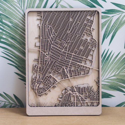 Manhattan laser cut map