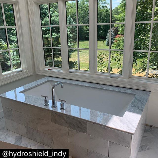 😍😍😍😍😍 how could you not relax in this beautiful tub?! Tub decking is Venatino Carrara Marble! . . . @hydroshieldindy : Beautiful marble tub decking fabricated and installed by Olympia Stone!  Protected with HydroShield for Stone this customer can relax knowing the marble is stain, oil and hard water resistant!  Call HydroShield Indianapolis to protect your investment in natural stone!  317-995-2715  #hydroshield #hydroshieldindy #hydroshieldindianapolis #ecofriendly #granite #marble #quartz #stone #tile #glass #porcelain #grout #quartzite #kitchen #bathroom #shower #countertop #granitecountertops #sealer #stoneprotection #hydroshieldhome #marbleprotection #graniteprotection #glassprotection  #quartzprotection #glasscoating #surfaceprotection #thefutureofsurfaceprection