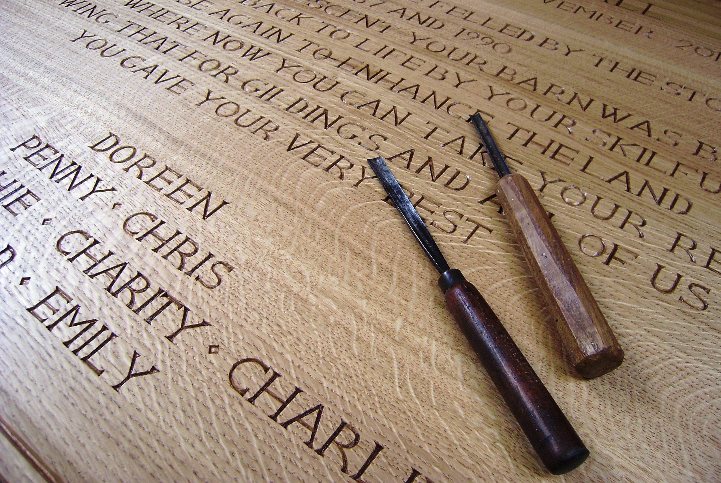 Hand carved memorial poem