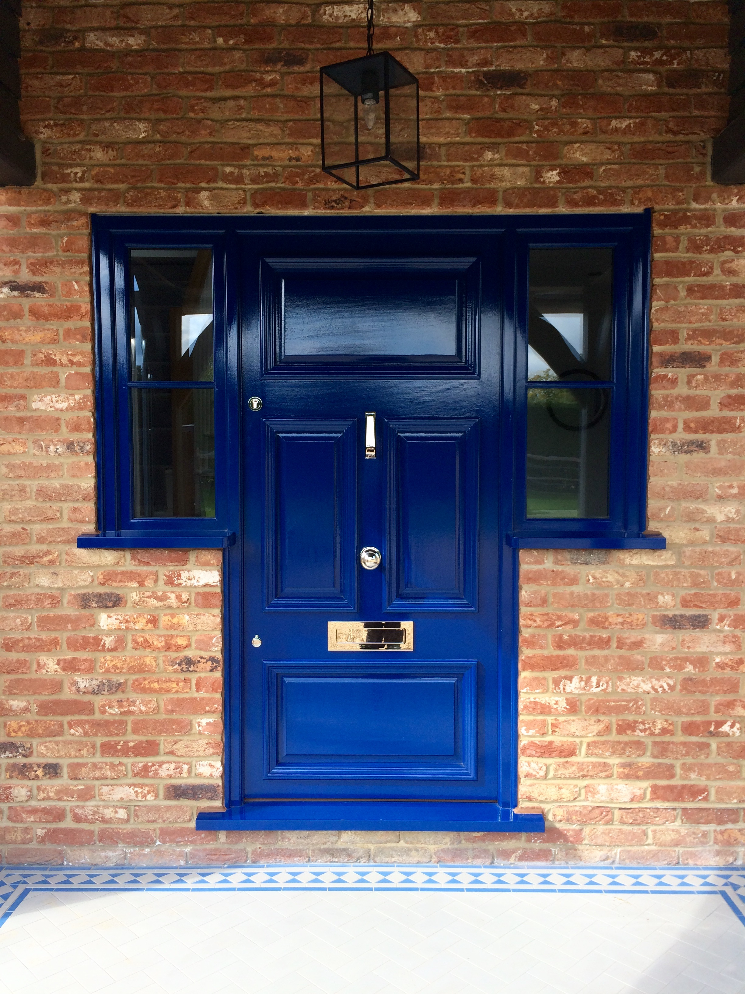 Painted front door and frame.
