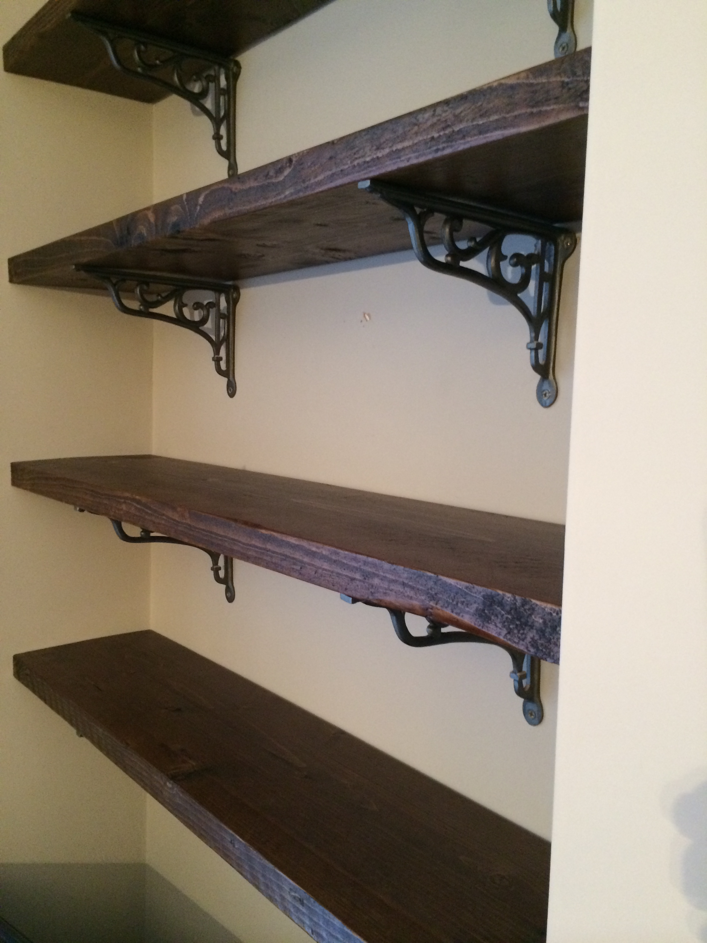 Rustic Shelves - Made from rustic grade pine, these shelves were stained and oiled to a durable finish.