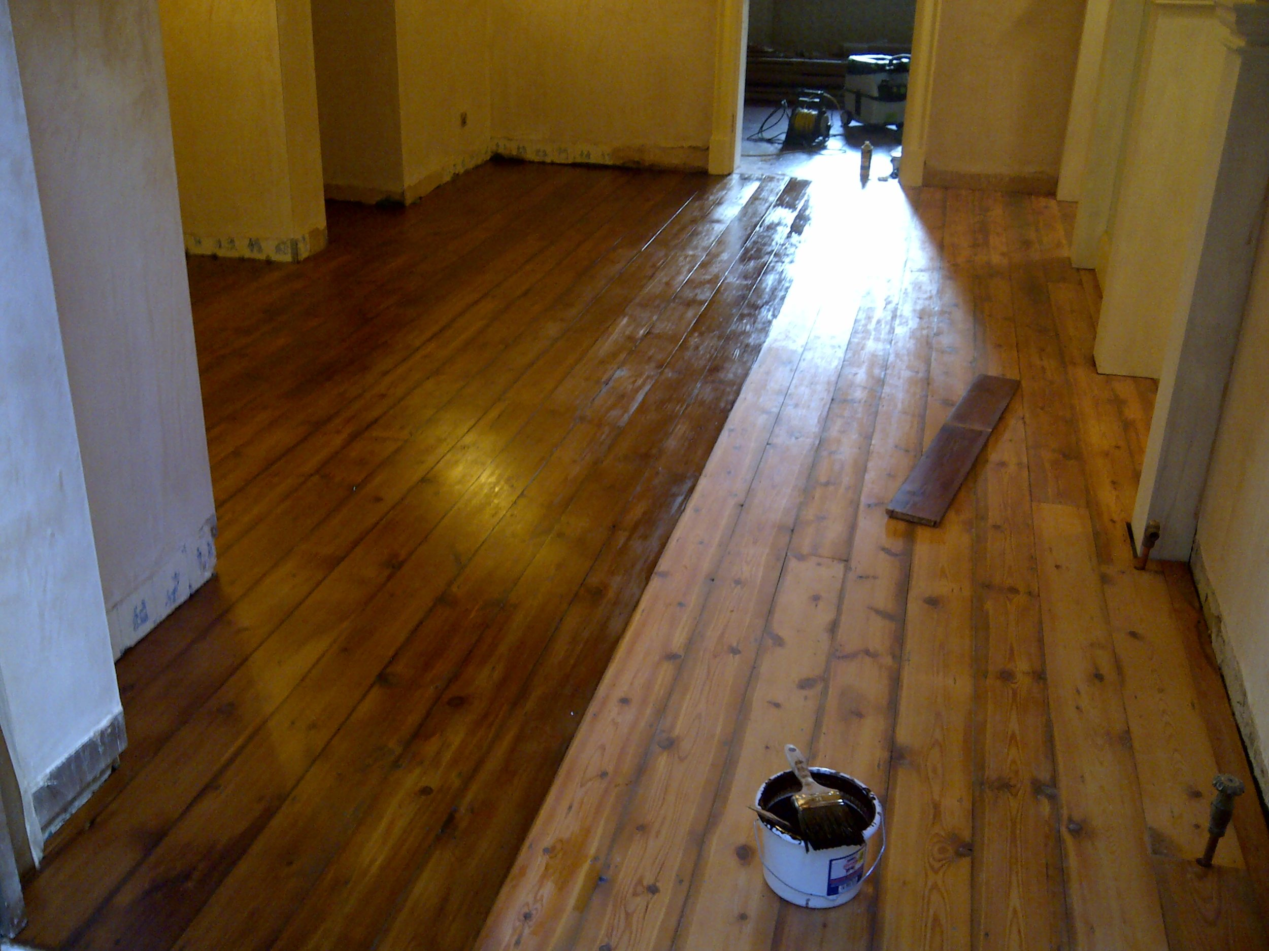 Staining - Numerous stains and layers of polish were mixed in order to match the existing flooring.