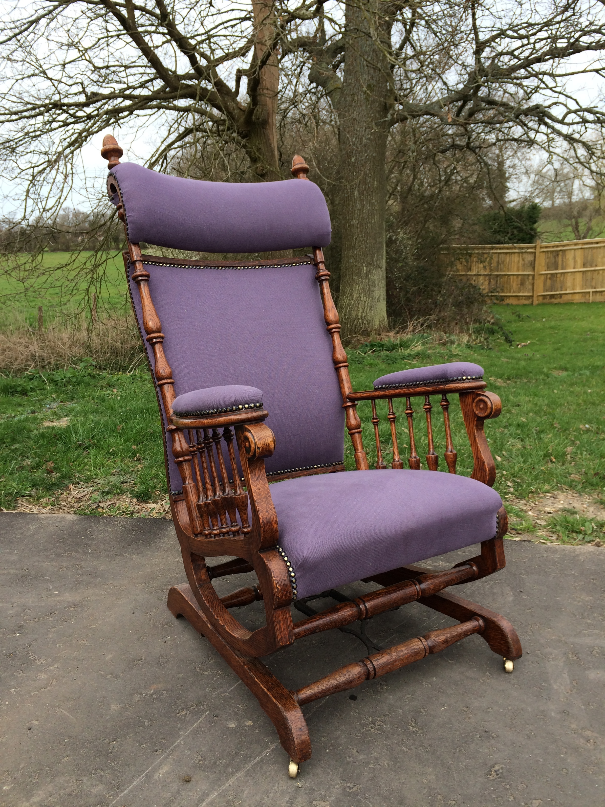 Transformed - This wonderful rocking chair came to me in a bit of a state. I removed the upholstery, re glued every joint, repaired damaged polish and finally had it reupholstered.You can see the before images below.