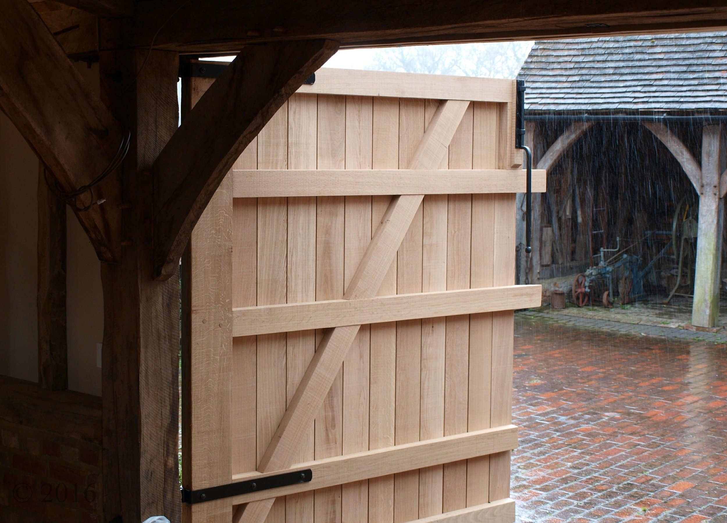 - Interlocking barn doors, traditionally made from solid oak. These will naturally silver over time.