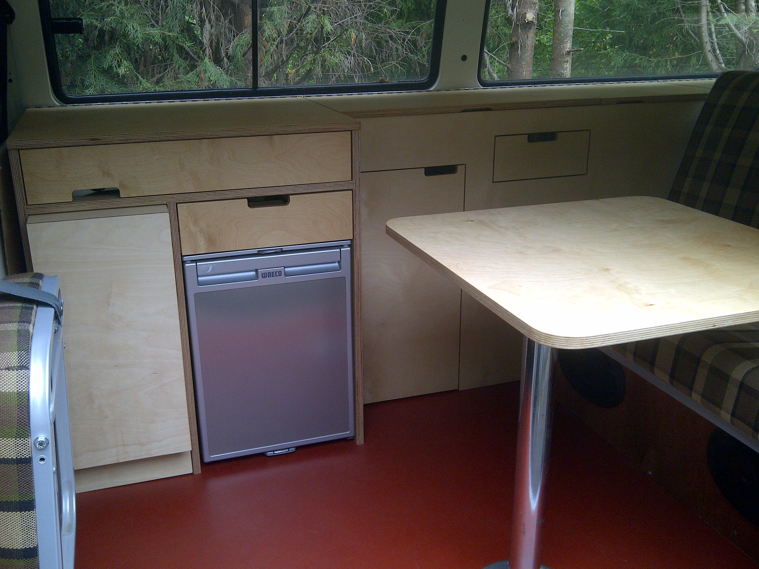- This VW camper fit out was a joy to undertake. Birch plywood throughout, the furniture offers both storage and cooking facilities.