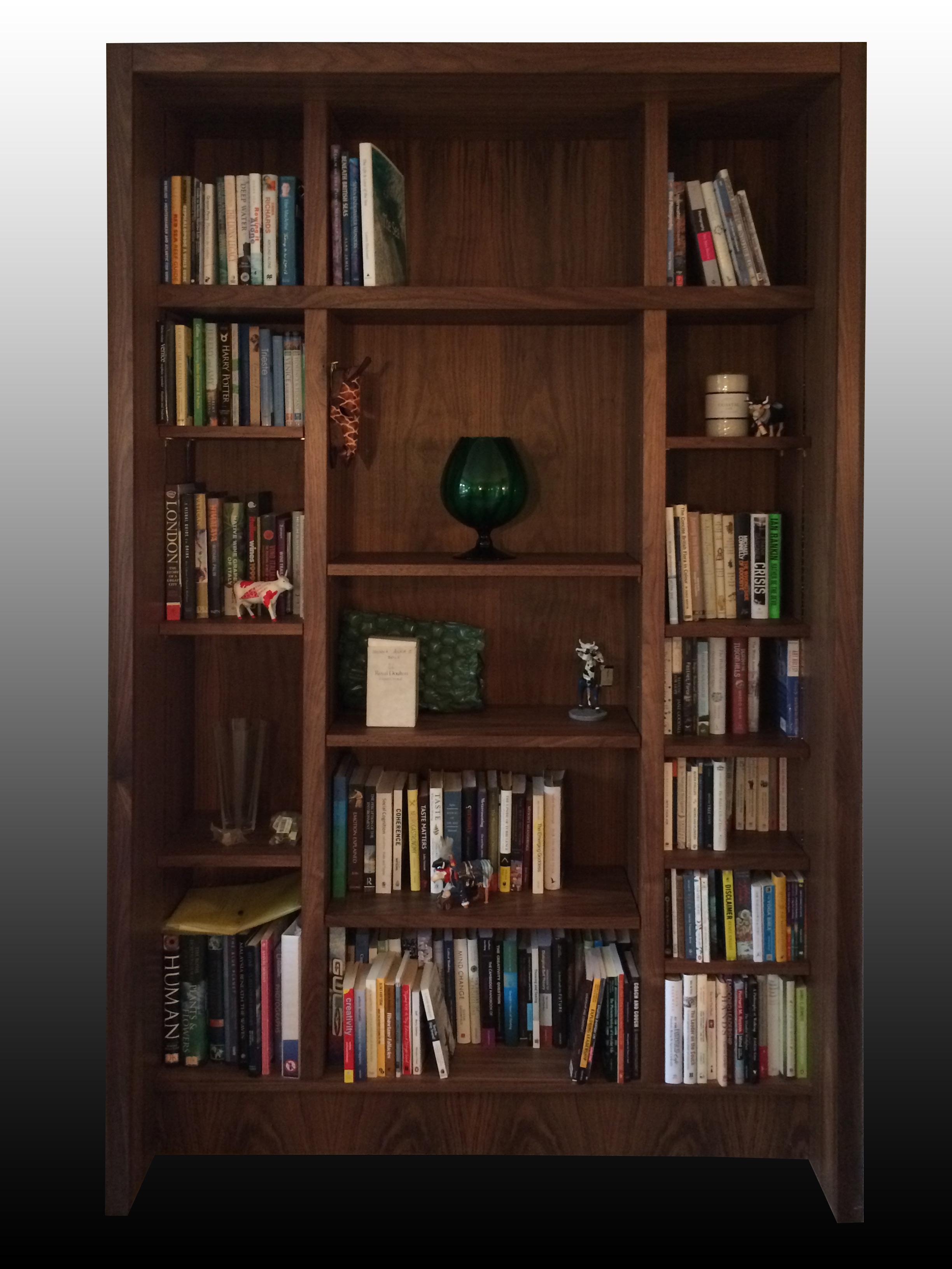 Walnut bookcase. -