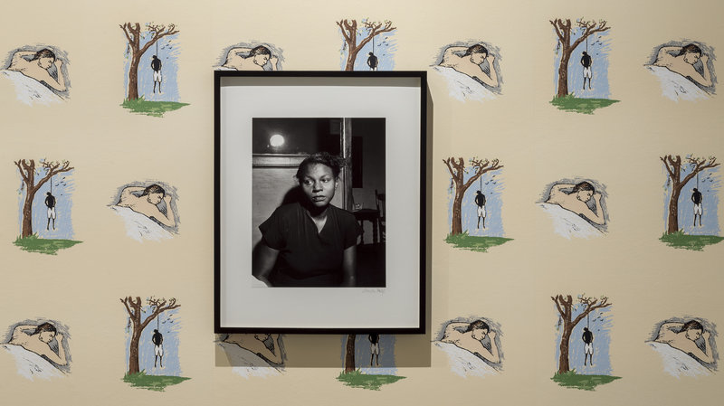 From Non-Fiction: 1949 portrait of the wife of a lynching victim on top of Robert Grober's 1989 Hanging Man/Sleeping Man screen-printed wallpaper - Underground Museum