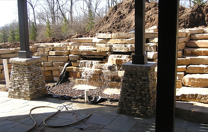 Pumps are installed, and the waterfall gets its first test.