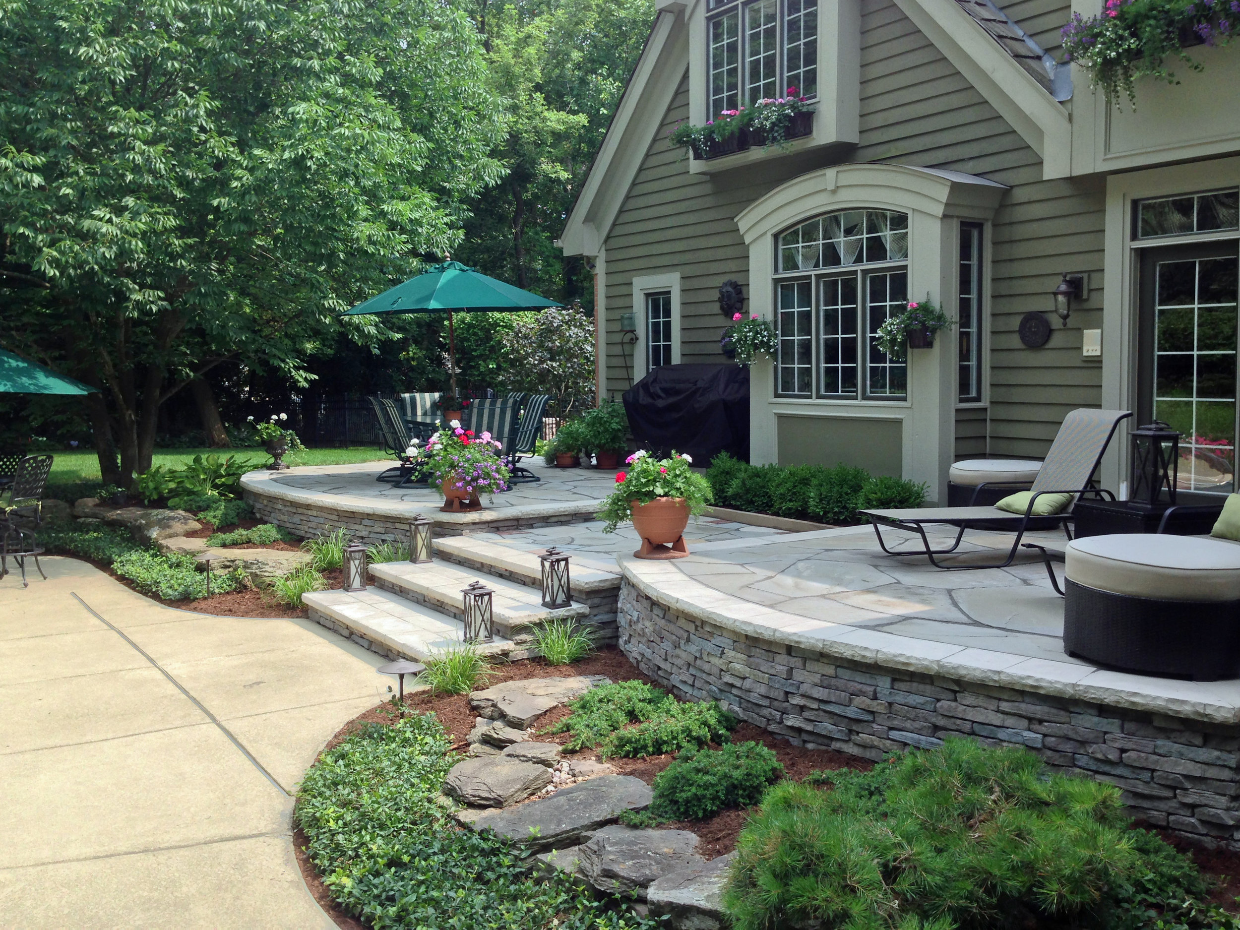 Outdoor living space landscape architecture after renovation in Wayne, IL