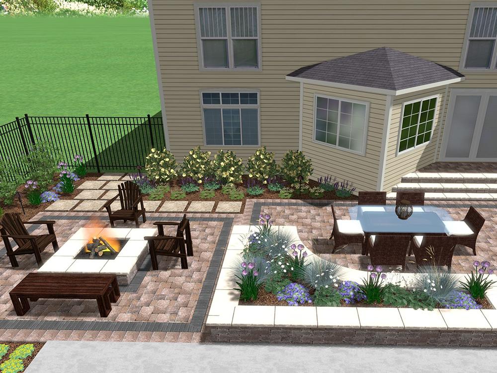 Outdoor living area landscape design in Elburn, IL