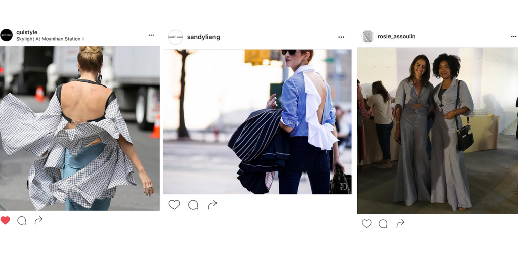 Image Credit, left to right:  Instagram.com/quistyle, Instagram.com/sandyliang, Instagram.com/rosie_assoulin