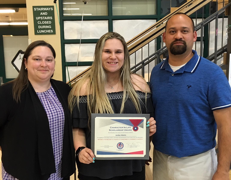 Melissa Brassard, Jordan Adams (2018 Emerald Ridge HS Scholarship recipient), and Steve Aguilar