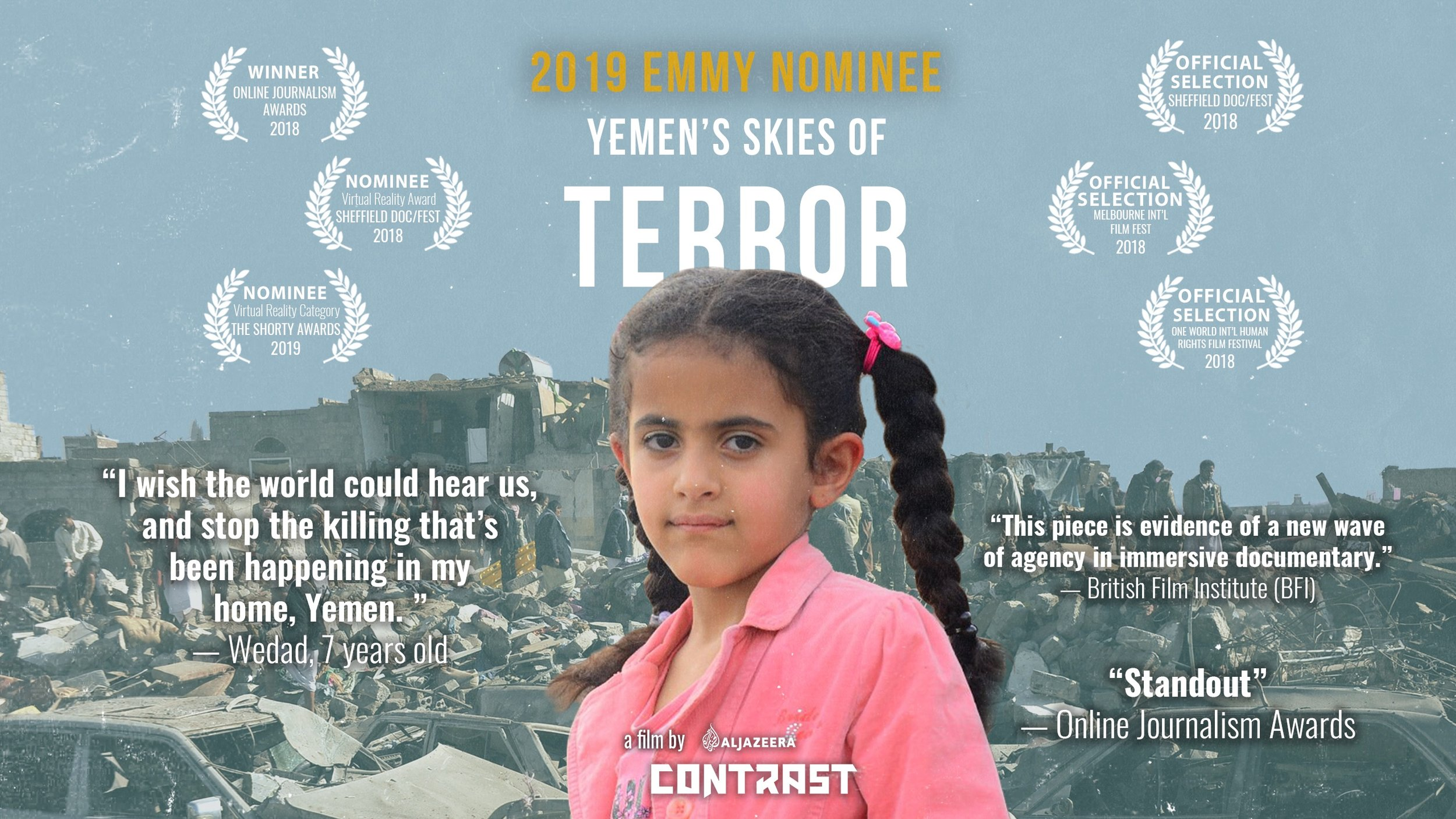 Yemen's Skies of Terror - As Yemen enters its fourth year of war, experience how the Saudi-led coalition's 16,600+ air raids have impacted the lives of three young Yemenis who live in constant fear of the skies.