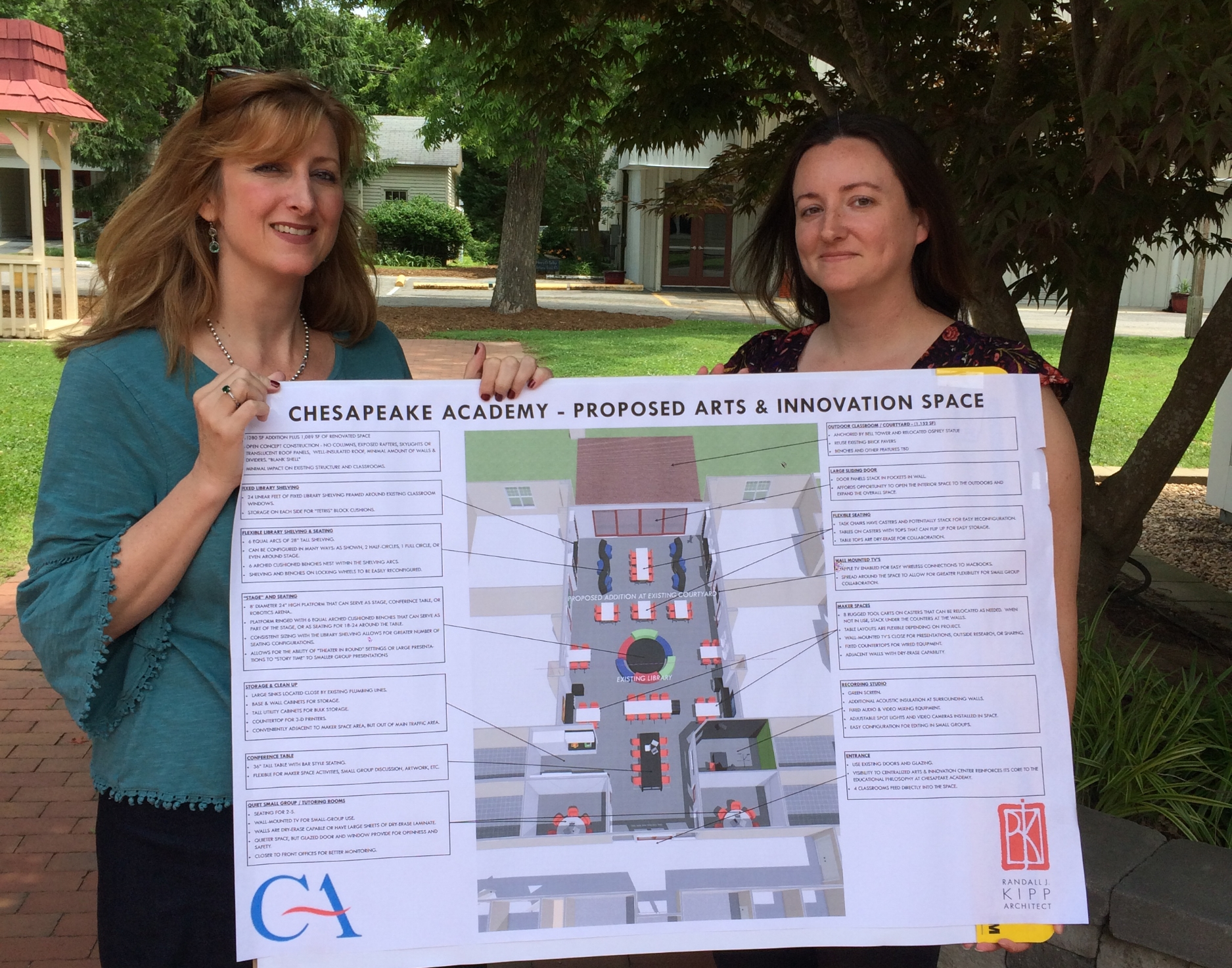 Chesapeake Academy's Julianne Duvall, Head of School, and Kimberly Dynia, Instructional Technology Coordinator, display plans for the proposed Arts & Innovation Space.