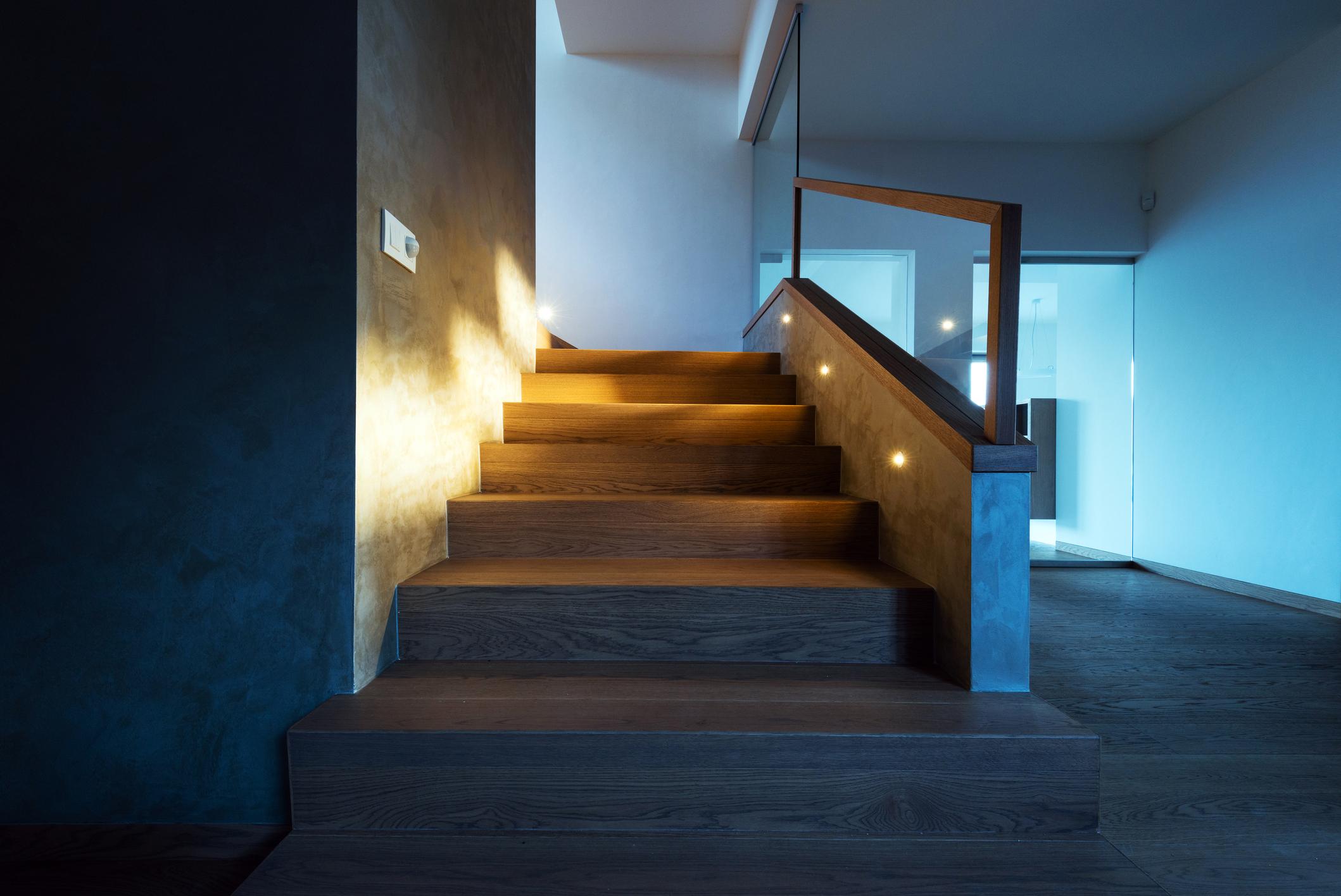 Sleek stairway lighting.
