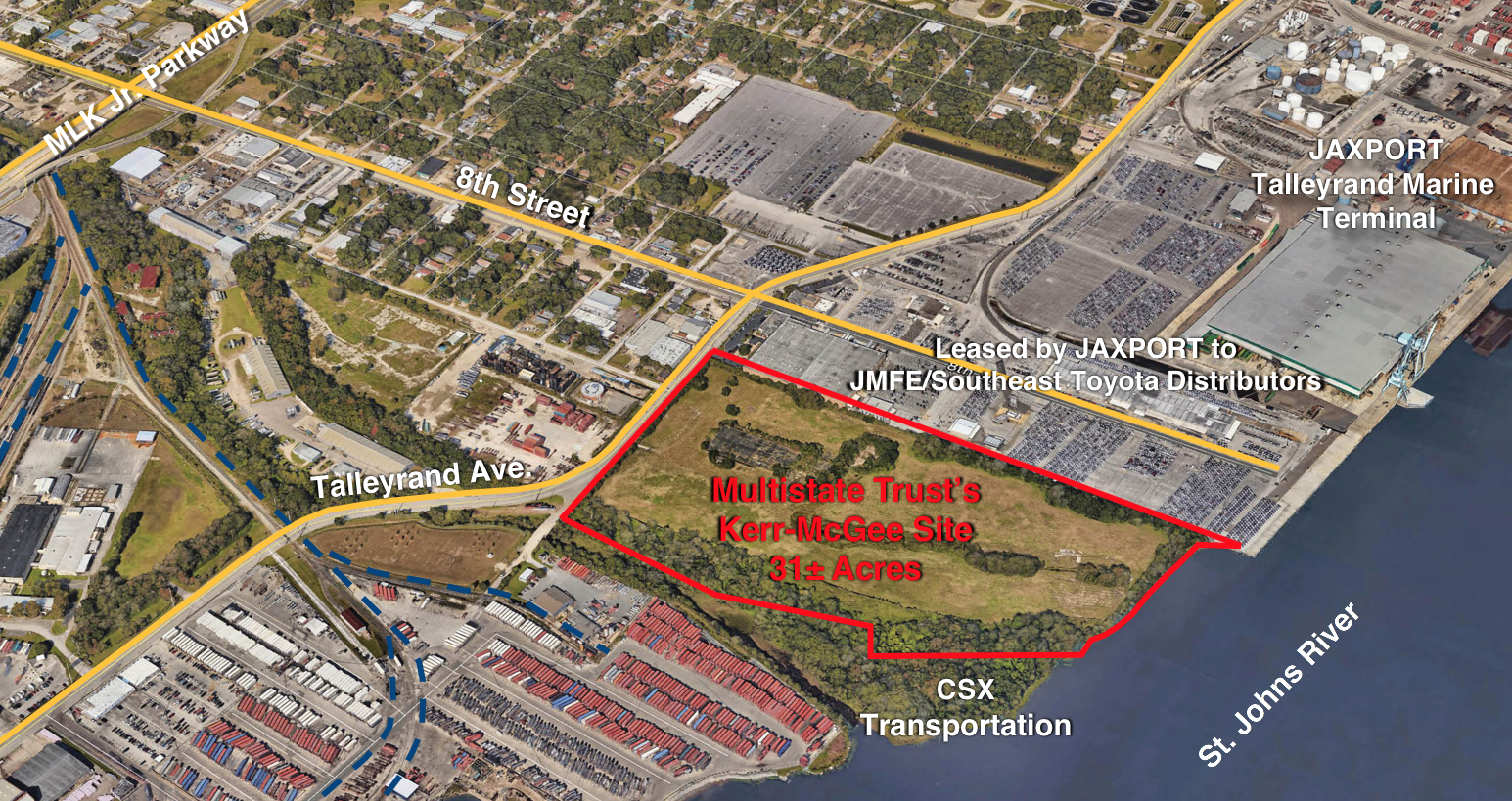 This map shows the location of the Multistate Trust's Kerr-McGee Chemical Corp – Jacksonville Superfund Site (outlined in red) in the Port of Jacksonville, Florida. To facilitate cleanup of the Site, the Multistate Trust acquired 2.8 acres of state-owned, submerged lands adjacent to the Site's St. Johns River shoreline in a land swap authorized by Florida's governor and cabinet. In exchange for the submerged lands, the State agreed to accept 14.5 acres of marsh and forest that the Multistate Trust acquired and offered as trade lands and that will be conserved as part of the adjoining Fort George Island Cultural State Park.