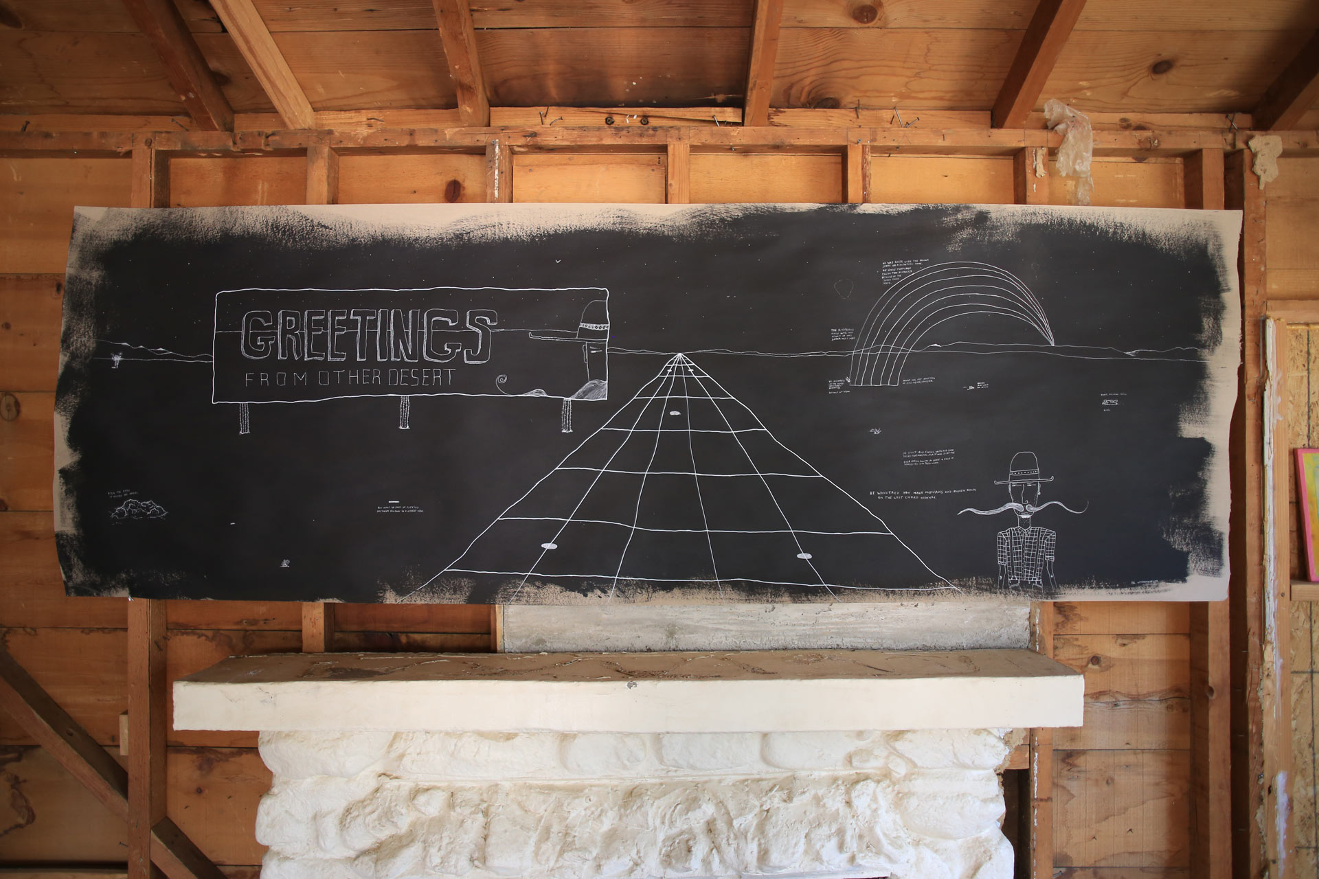 'Greetings From Other Desert' 8' x 3' mixed-media mural on kraft paperboard.
