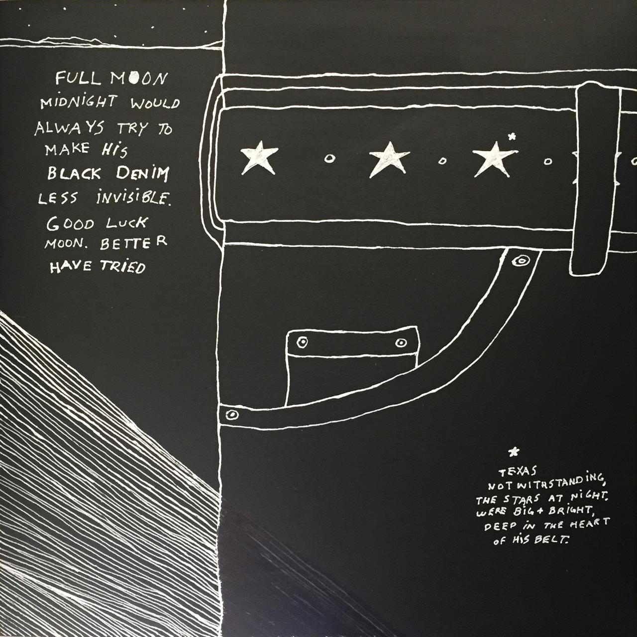 "'Black Denim Moonlight.' 12"" x 12"" pen and ink on wood panel."
