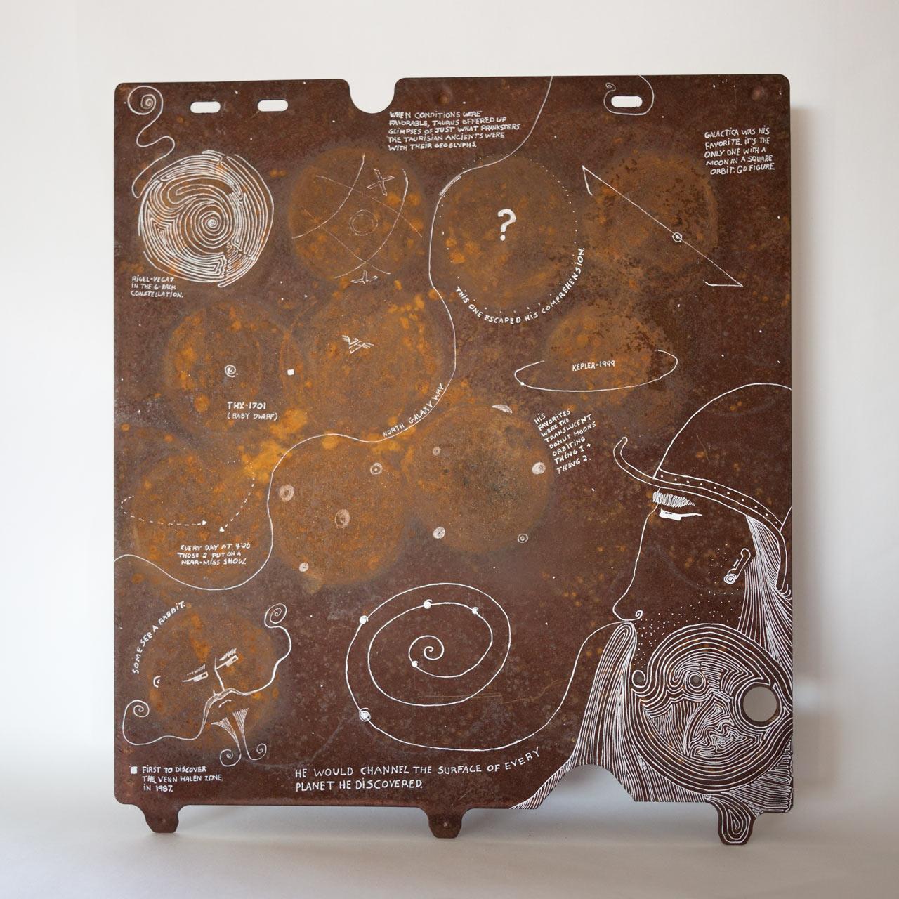 "'Galactica' 16"" x 16"" on found rust panel."