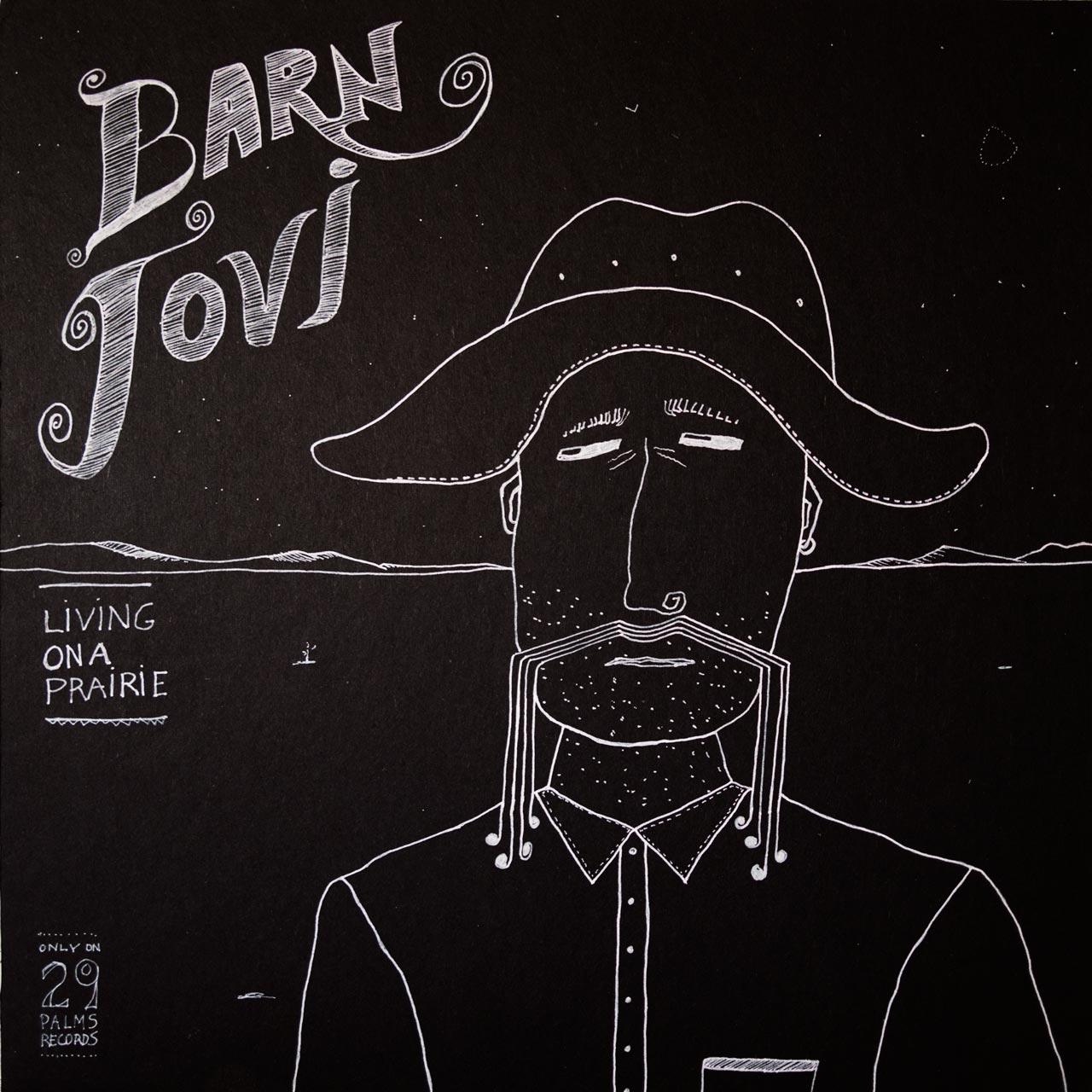 "'Barn Jovi.""12"" x 12"" pen and ink on wood panel."