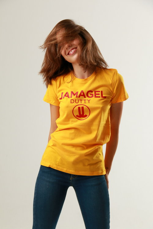 Overjoyed model posing in yellow shirt
