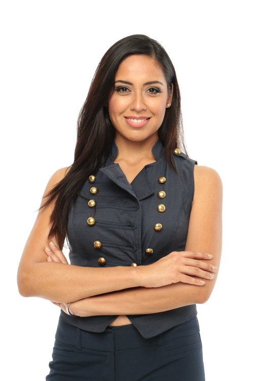 Female model Headshot in double breasted vest