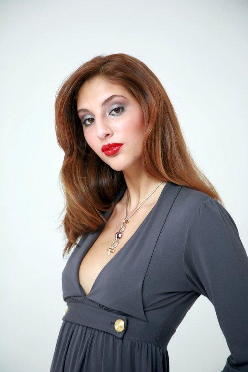 Female model Headshot in grey dress