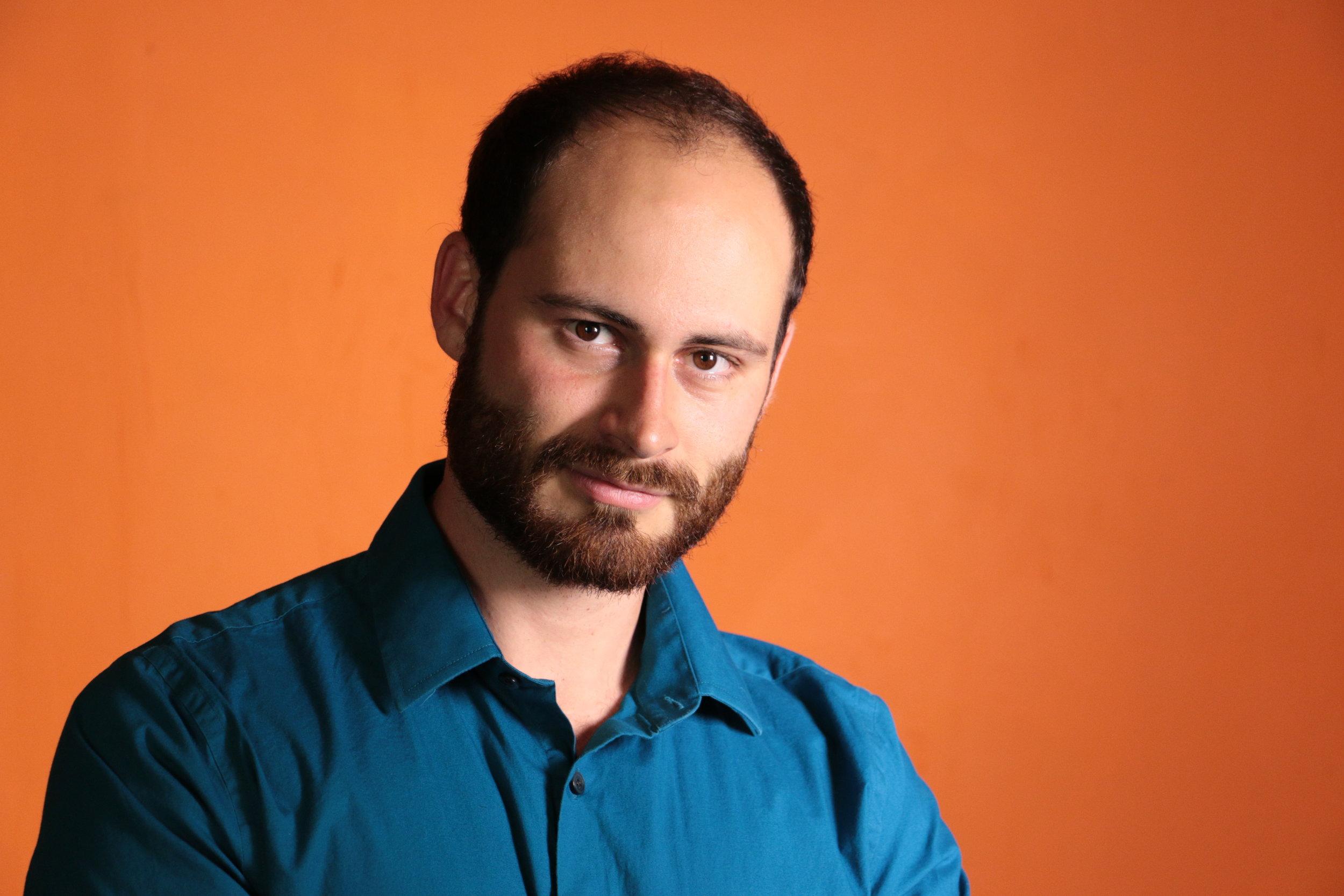 Male model Headshot in blue shirt