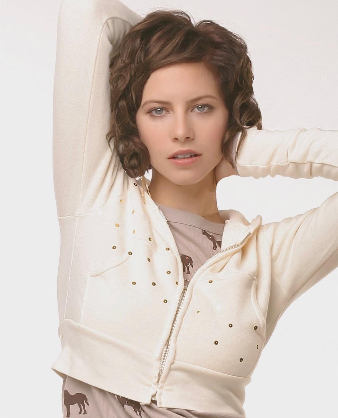 Female model Headshot in white sweater