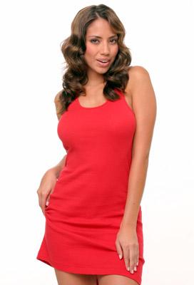 Model posing in red dress