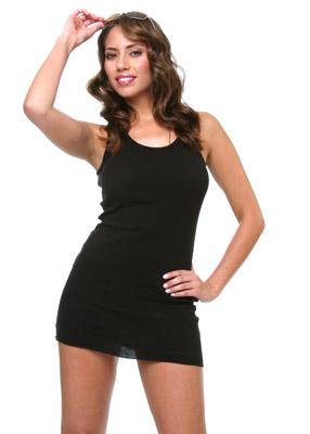 Model posing in black dress