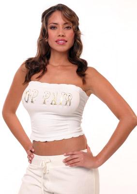 Model posing in white shirt