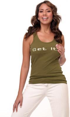 Model posing in green tank top