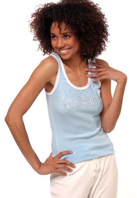 Model posing in blue tank top