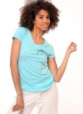 Model posing in blue shirt