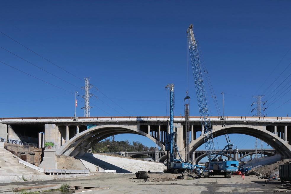 Spring Street viaduct during widening