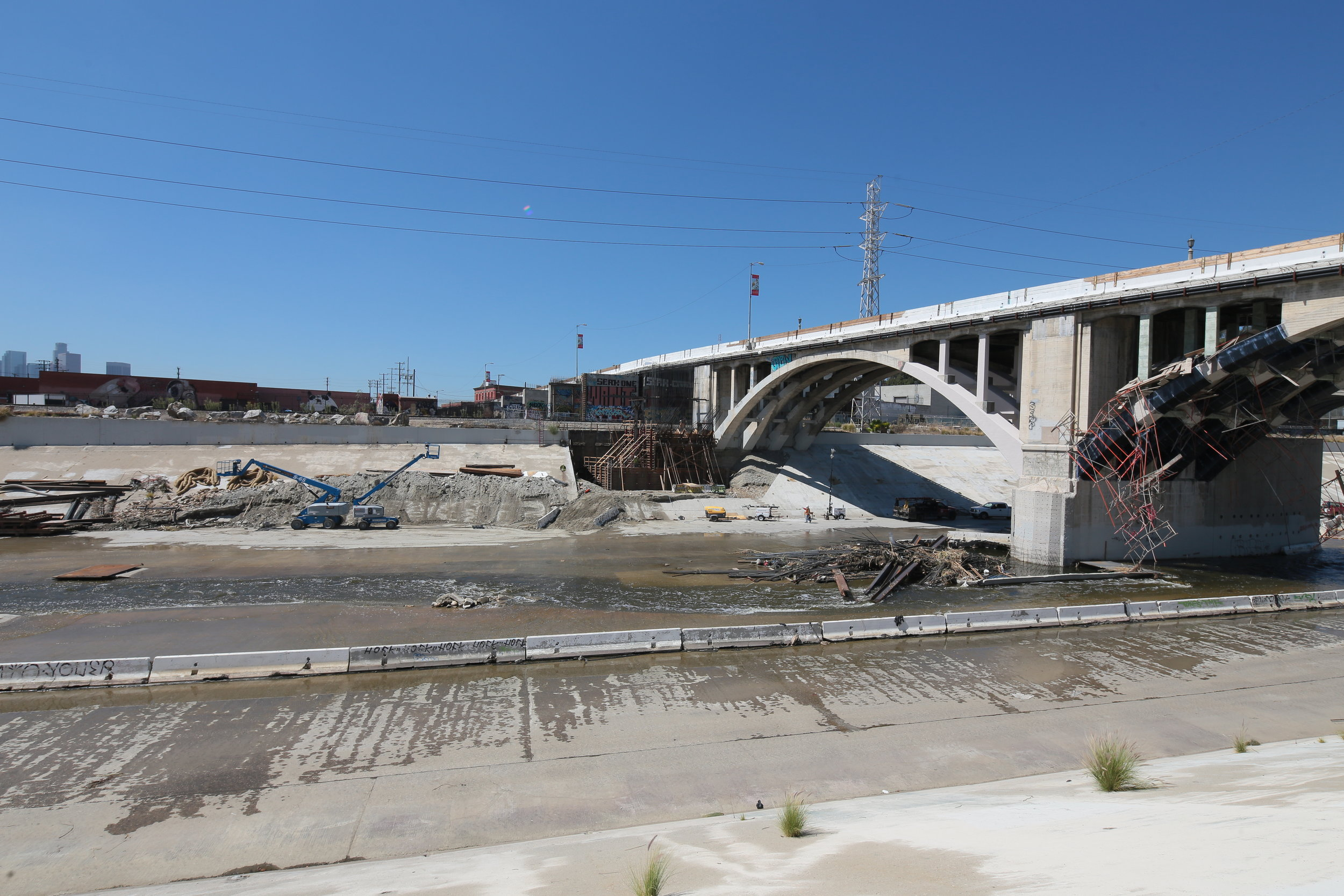 Storm flood damage at Spring Street bridge