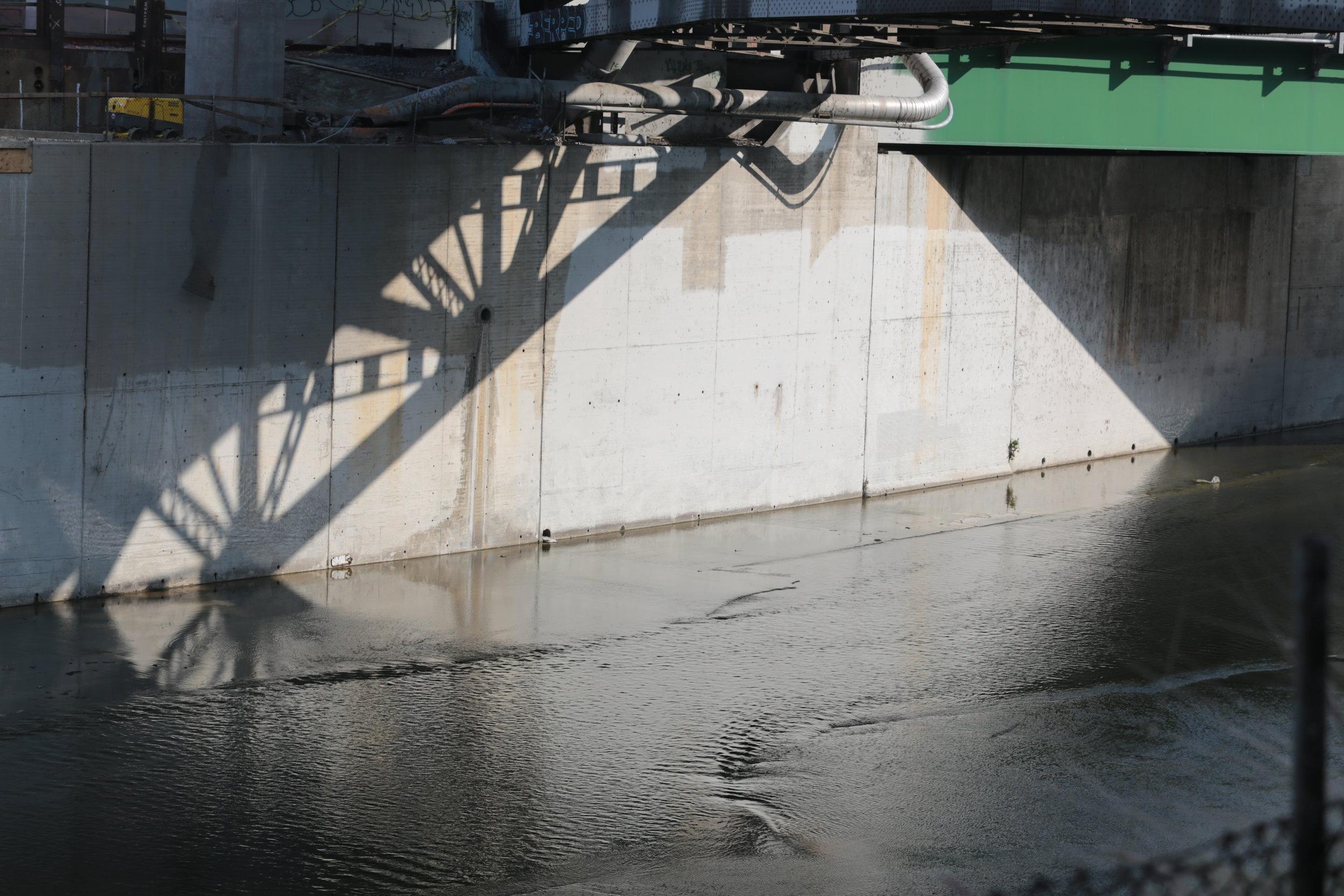 Shadows of the old Riverside Drive bridge