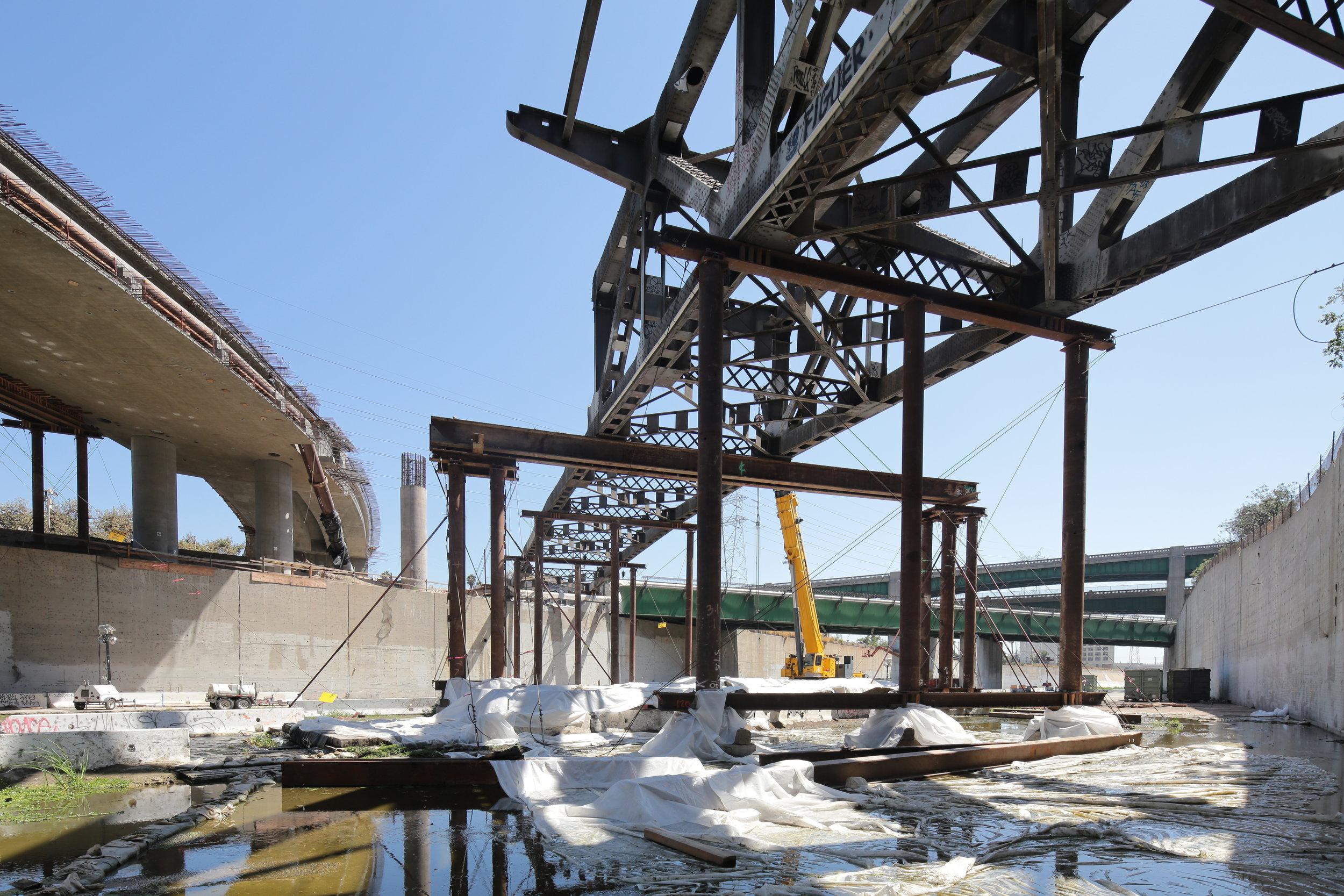 Riverside Drive bridge falseworks and demolition